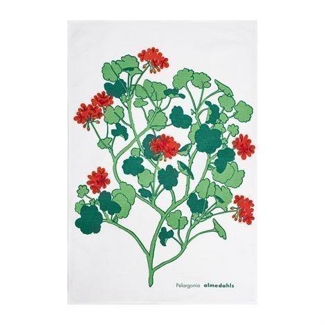 Almedahls Pelargonia Keittiöpyyhe Punainen