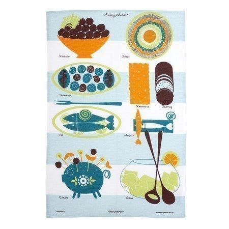 Almedahls Smörgåsbordet keittiöpyyhe sininen