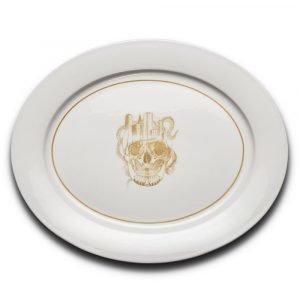 Anitha Schulman Nobel Skull Tarjoiluvati Dirty Gold 33x27 Cm