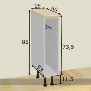 Baltest Mööbel Käsipyyhekaappi 25 Cm