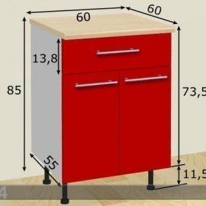 Baltest Mööbel Kaksiovinen Keittiökaappi+Laatikko 60 Cm