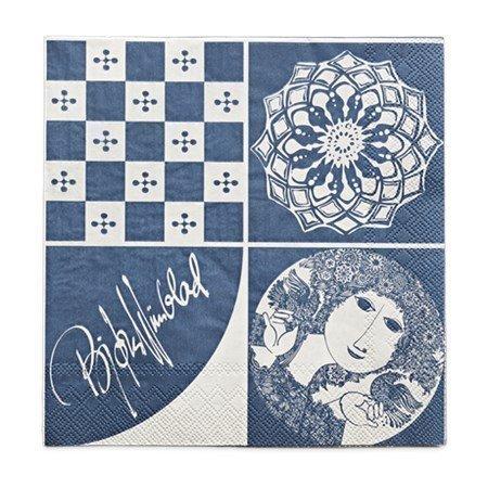 Björn Wiinblad Paperiservetti sininen 40 x 40 cm