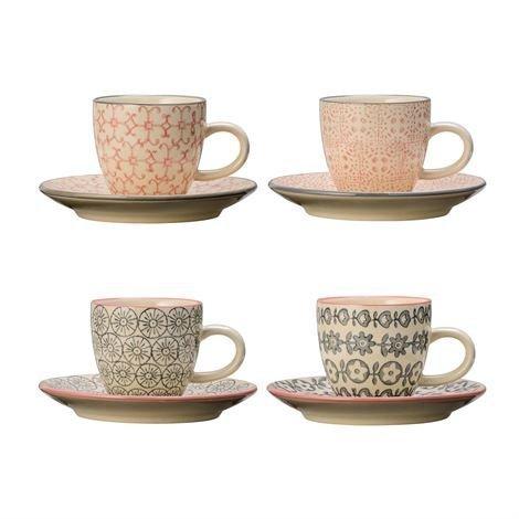 Bloomingville Cécile Espressokuppi Ja Lautanen 4 kpl Valkoinen-Harmaa-Vaaleanpunainen