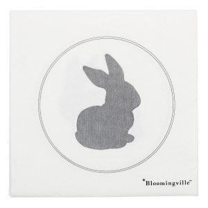 Bloomingville Easter Kani Servetti Harmaa / Valkoinen 20-Pakkaus