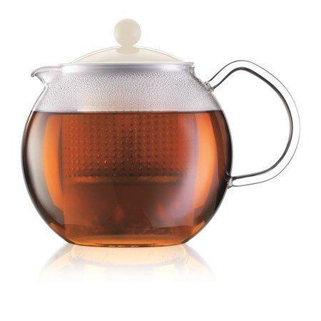Bodum Assam Teekannu 1 l Valkoinen lasikahvalla