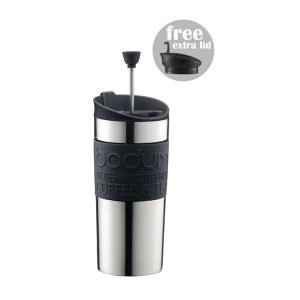 Bodum Travel Press Set Matkamuki / Pressokeitin Ruostumaton Teräs / Musta 35 Cl