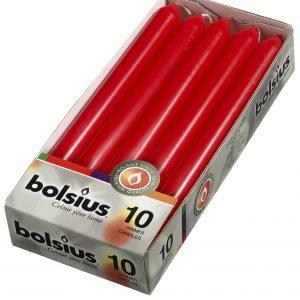 Bolsius Kynttilä Punainen 23x2 Cm 10 Kpl