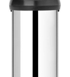 Brabantia Touch Bin® 60 L Matt Black kansi Brilliant Steel