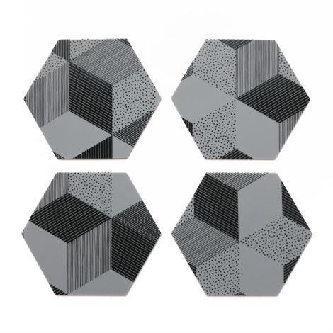 By May Polygon Lasinalusta 4 kpl Graphite Harmaa
