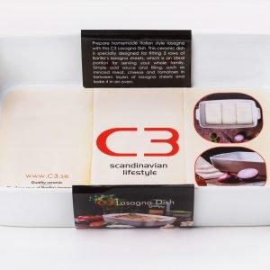 C3 Lasagnevuoka 3 Riviä Valkoinen 36x21 Cm
