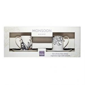 Denby Monsoon Chrysanthemum Espressokuppi & Lautanen Setti 2 Kpl