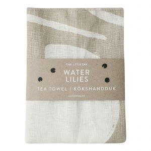Fine Little Day Water Lilies Kitchen Towel Keittiöpyyhe Hiekka 70x49 Cm