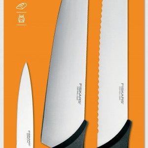 Fiskars Essential Veitsisetti Ruostumaton Teräs Musta 3 Kpl