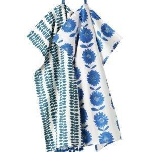 Flower Patch Keittiöpyyhkeet 2-Pakkaus Sininen