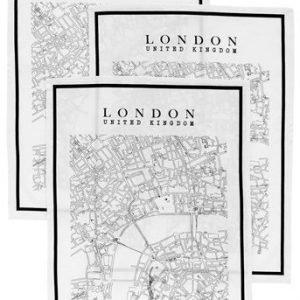 Fondaco Keittiöpyyhe London 3-Pakkaus Musta Valkoinen