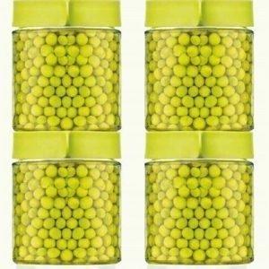 Glasslock Lasipurkit kannellinen 4 x 40 cl vihreä