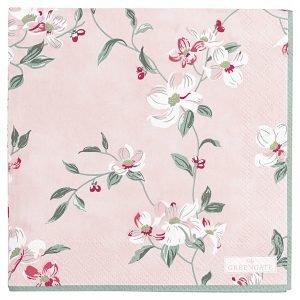 Greengate Servetti Jolie Vaaleanpunainen 25x25 Cm 20 Kpl