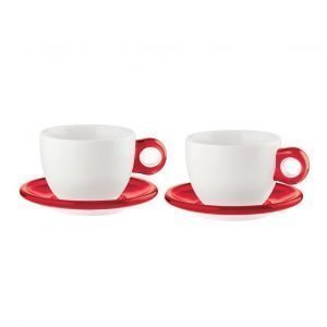 Guzzini Setti 2 Kahvikuppia Ja Lautanen Punainen