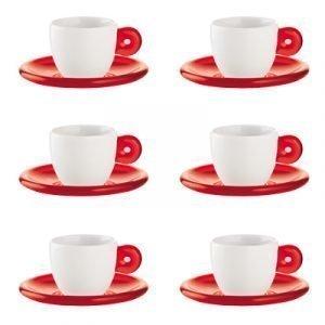 Guzzini Setti 6 Espressokuppia Punainen