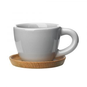 Höganäs Espressomuki Puulautasella Harmaa