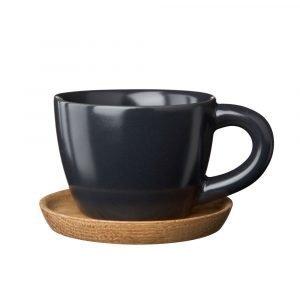 Höganäs Espressomuki Puulautasella Harmaa Matta