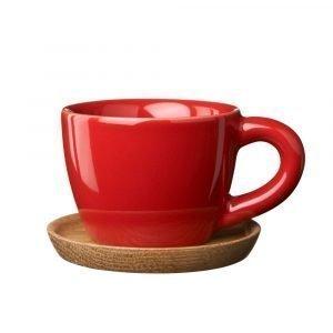Höganäs Espressomuki Puulautasella Punainen 10 Cl