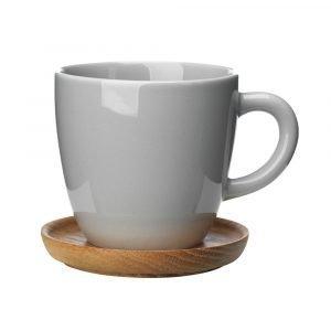 Höganäs Kahvimuki Puulautasella Harmaa 33 Cl