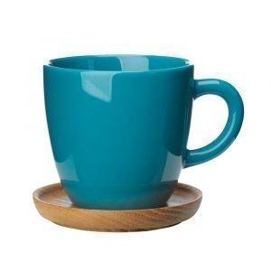 Höganäs Kahvimuki Puulautasella Merenvihreä 33 Cl