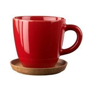 Höganäs Kahvimuki Puulautasella Punainen 33 Cl