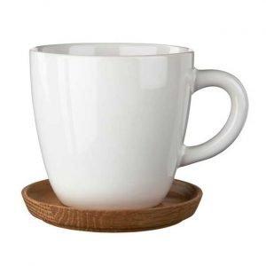 Höganäs Kahvimuki Puulautasella Valkoinen Kiilt 33 Cl
