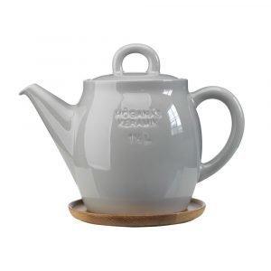 Höganäs Teekannu Puulautasella Harmaa 1