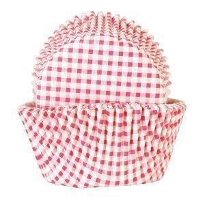 Heirol Paperi Muffinssivuoka Pinkki-Valkoruutu 50 Kpl