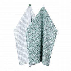 Hemtex Charlotte Kitchentowel Keittiöpyyhe 2-Pakkaus Vihreä 50x70 Cm