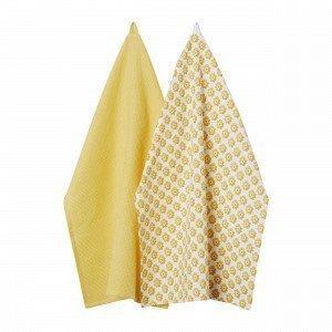 Hemtex Colette Kitchentowel Keittiöpyyhe 2-Pakkaus Keltainen 50x70 Cm