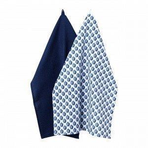 Hemtex Colette Kitchentowel Keittiöpyyhe 2-Pakkaus Sininen 50x70 Cm