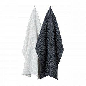 Hemtex Doreen Kitchentowel Keittiöpyyhe 2-Pakkaus Tummanharmaa 50x70 Cm