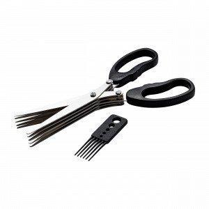 Hemtex Herb Scissor With Brush Yrttisakset Musta 8x20 Cm