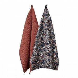 Hemtex Mary Kitchen Towel Keittiöpyyhe 2-Pakkaus Englanninpunainen 50x70 Cm