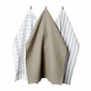 Hemtex Stina Kitchen Towel Keittiöpyyhe Beige 50x70 Cm
