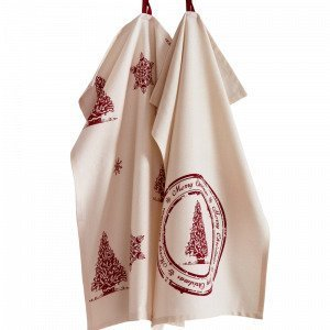 Jotex Mrs Tree Keittiöpyyhkeet Punainen 2-Pakkaus