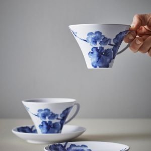 Jotex Victoria Kahvikupit Ja Aluslautaset Sininen Ø 16 Cm 2-Pakkaus