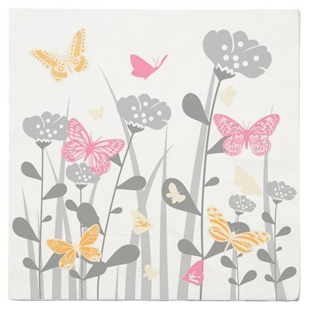 KJ Collection Lautasliina Sommarfluga 33x33 cm 20-pack