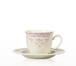 Kahvikuppi ja aluslautanen 20 cl Camille pinkki