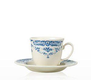 Kahvikuppi ja aluslautanen 20 cl Camille sininen