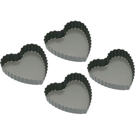 Kitchen Craft Non-stick sydämmenmuotoiset minimuotit 10 cm