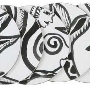 Kosta Linnewäfveri Paradise Lasinalunen Musta / Valkoinen 10 Cm 6 Kpl
