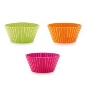 Lékué Classic Muffinssimuotit Silikoni Vaaleanpunainen / Lime / Oranssi