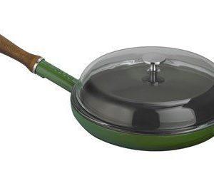 Lava Paistinpannu puukahva ja lasikansi vihreä 28 cm