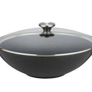 Le Creuset Wokkipannu Lasikannella Valurauta Matte Black 32 Cm 4.8 L