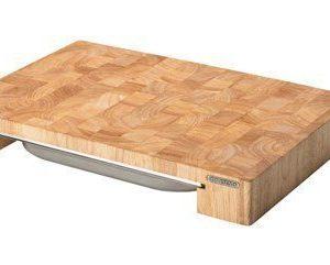 Leikkuulauta ja laatikko kumipuuta 48x32x6 cm